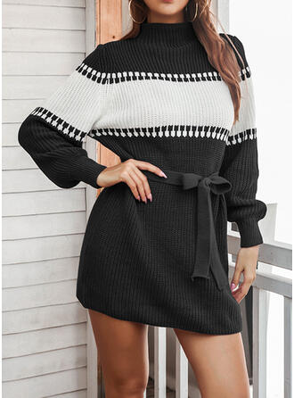 Color Block High Neck Casual Sweater Dress