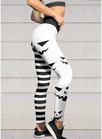 Halloween Striped Print Long Sexy Sporty Yoga Leggings