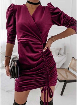 Solid Long Sleeves Puff Sleeve Sheath Above Knee Casual Dresses