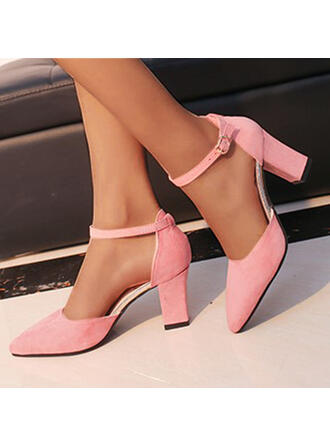 Women's Suede Chunky Heel Pumps Heels With Buckle Solid Color shoes