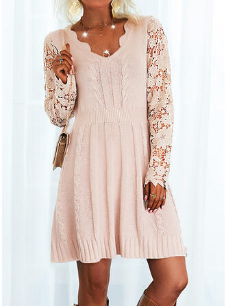 Solid Lace V-Neck Sweater Dress