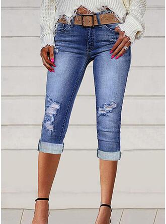 Solid Denim Capris Sexy Plus Size Pocket Ripped Denim & Jeans