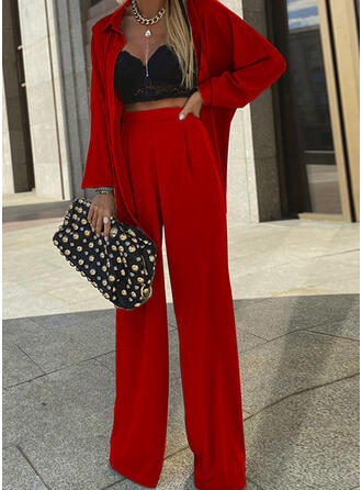Solid Elegant Casual Blouse & Two-Piece Outfits Set
