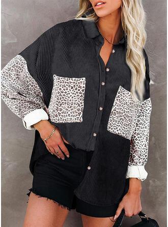 Color Block Leopard Print Lapel Long Sleeves T-shirts
