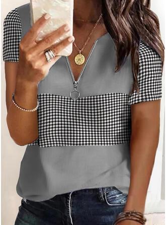 PolkaDot V-Neck Short Sleeves Casual Blouses