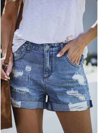 Solid Above Knee Casual Vintage Plus Size Pocket Ripped Button Pants Shorts Denim & Jeans