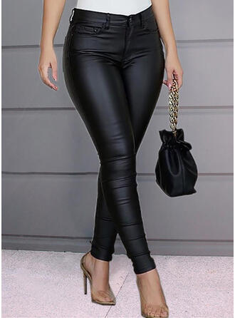 Solid Shirred Plus Size Long Elegant Sexy Leather Pants