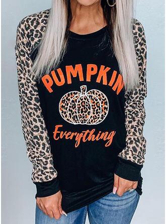 Print Leopard Letter Round Neck Long Sleeves Sweatshirt