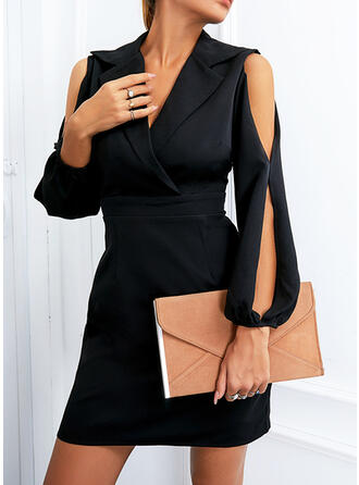 Solid Long Sleeves Slit Sleeve Sheath Above Knee Little Black/Elegant Dresses