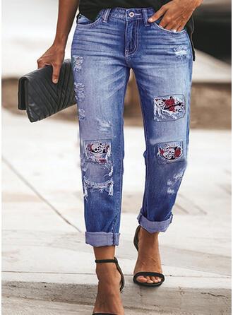 Plus Size Ripped Tassel Halloween Long Elegant Sexy Denim & Jeans