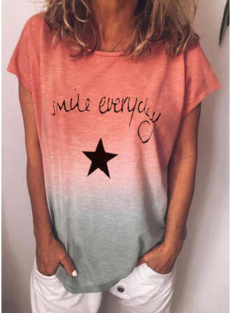 Gradient Print Letter Round Neck Short Sleeves T-shirts