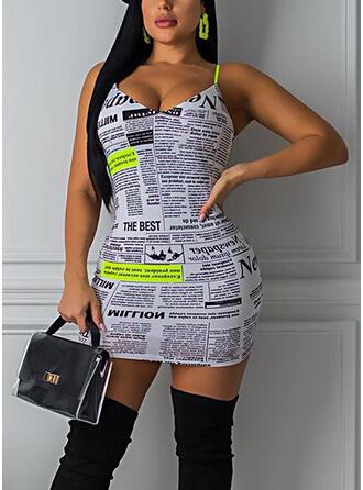 Print Sleeveless Bodycon Above Knee Sexy/Casual Slip Dresses