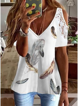 Print Feather Lace Cold Shoulder Short Sleeves Cold Shoulder Sleeve Elegant Blouses
