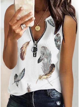 Print Feather Knit V-Neck Sleeveless Tank Tops
